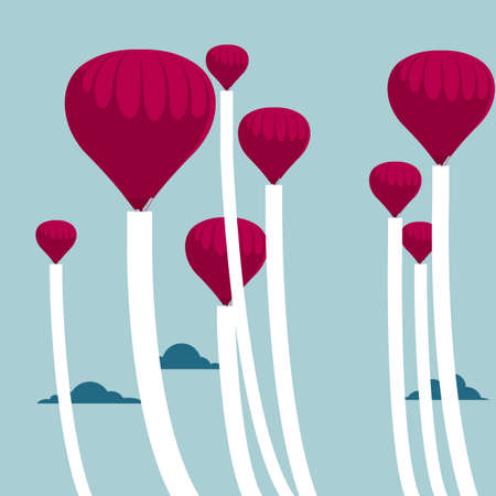 Hot air balloons on blue background