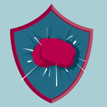 Fist breaking through the shield. Isolated on blue background.