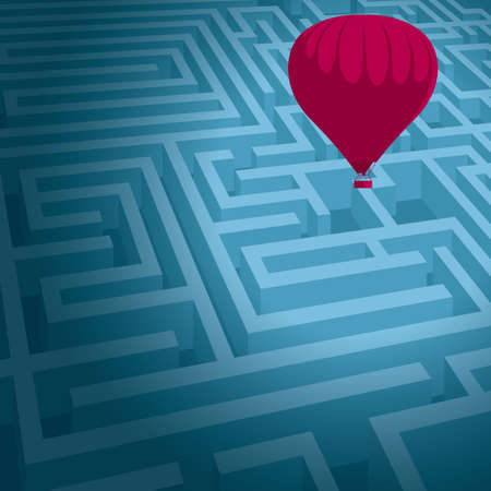 Escape the maze with hot air balloon. Isolated on blue background.