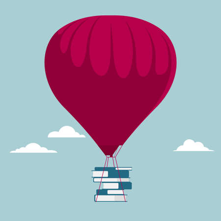 Transport books using hot air balloons. Isolated on blue background.