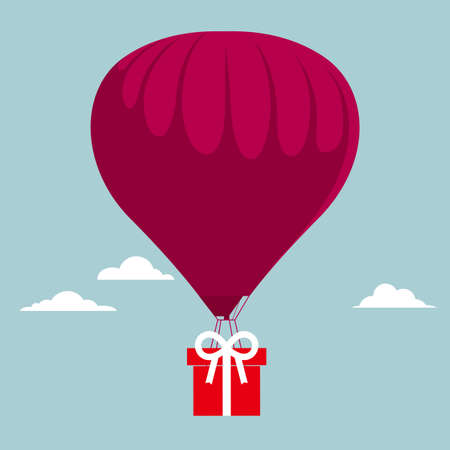 Transport gifts using hot air balloons. Isolated on blue background.