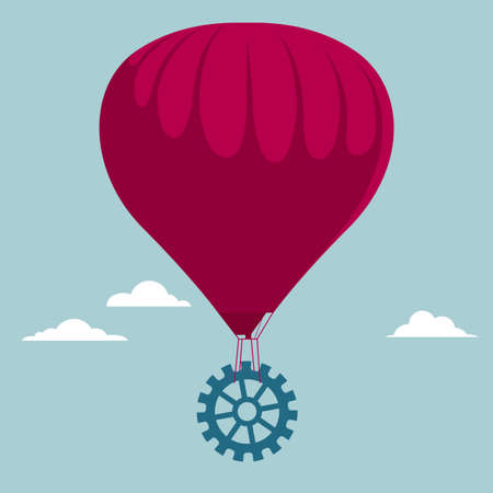 Transport gears use hot air balloons. Isolated on blue background.