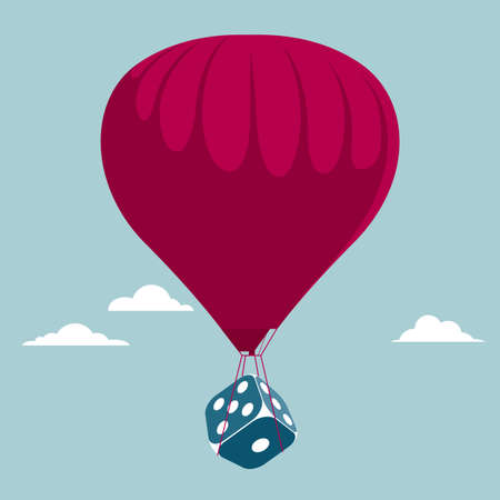 Transport the dice using a hot air balloon. Isolated on blue background.