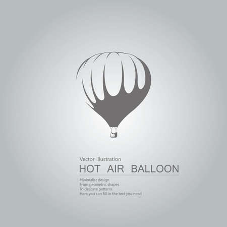 Vector drawn hot air balloon. The background is a gray gradient. Ilustração
