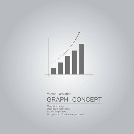 Vector drawn bar chart. The background is a gray gradient.