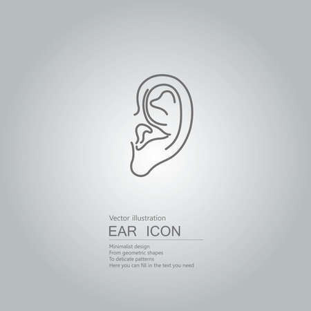 Vector drawn ears. The background is a gray gradient. Stockfoto - 128688273