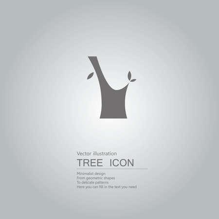 Vector drawn stump. The background is a gray gradient. Ilustração