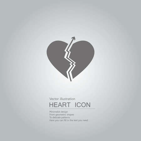 Vector drawn heart symbol. The background is a gray gradient. Illustration