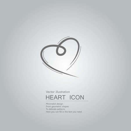 Vector drawn heart symbol. The background is a gray gradient. Ilustração