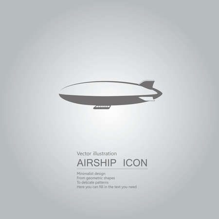 Vector drawn airship. The background is a gray gradient.