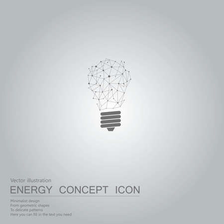 Vector drawn light bulb icon. The background is a gray gradient. Ilustração
