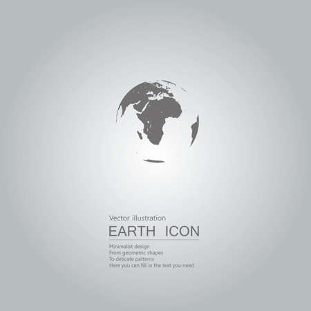Vector drawn globe icon. The background is a gray gradient.
