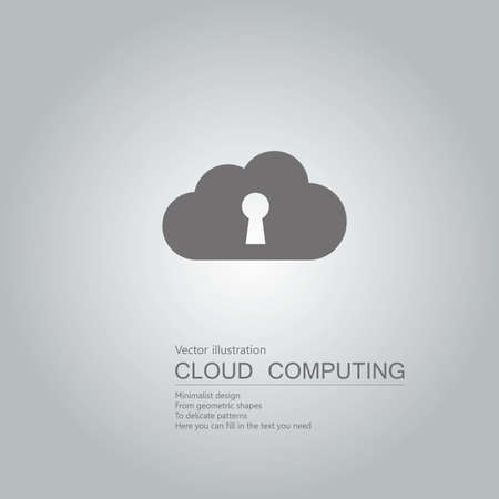 Vector drawn cloud computing. The background is a gray gradient. Ilustração