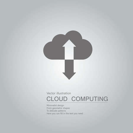 Vector drawn cloud computing. The background is a gray gradient. Illustration