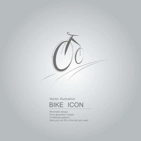 Vector drawn bicycle icon. The background is a gray gradient.