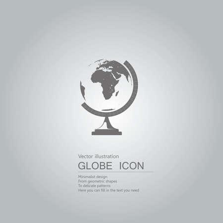 Globe icon on gray gradient background.