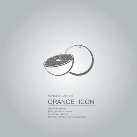 Vector drawn oranges. The background is a gradient of gray. Stock Illustratie