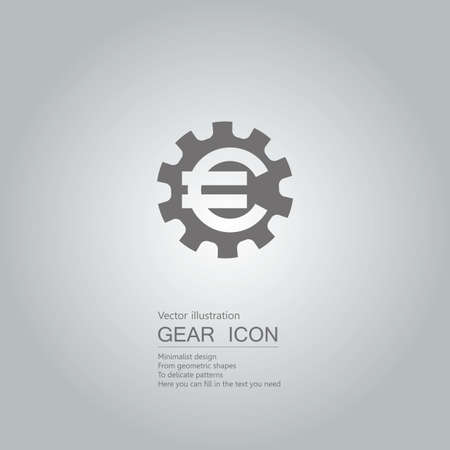 Gears and euro symbol. The background is a gray gradient.