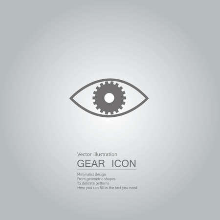 Eyes and gears. The background is a gray gradient.