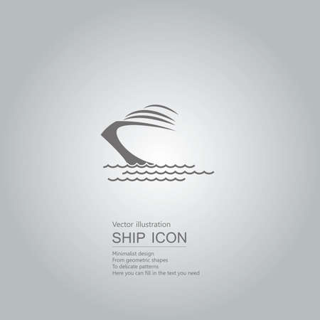 Vector drawn ship. The background is a gray gradient. Ilustração