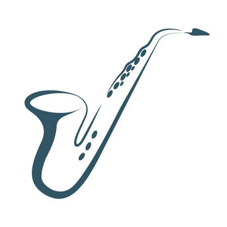 Sassofono disegnato vettoriale. Isolato su sfondo bianco.