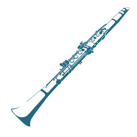 Vector drawn clarinet. Isolated on white background.