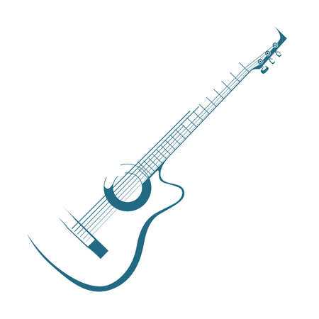 Guitar on white background.