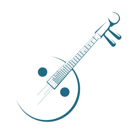Yueqin (moon guitar) on white background.