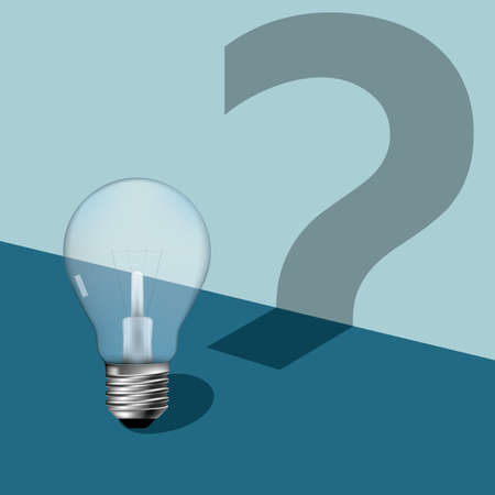 Questions and ideas. Isolated on blue background. Stock Illustratie
