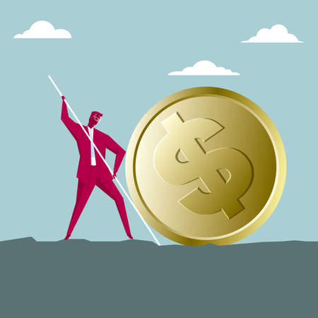 Businessman with pole trying to move a dollar coin