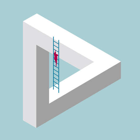 Businessman on ladder climbing a triangular structure Ilustracja