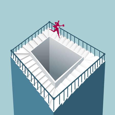 Businessman running on illusion staircase  イラスト・ベクター素材