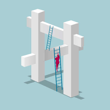 Businessman on ladder climbing a structure  イラスト・ベクター素材