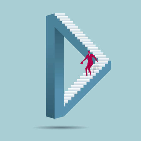 Businessman going down stairs of a triangular structure