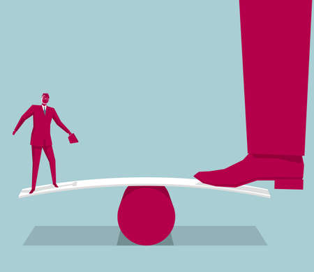 Businessman standing on seesaw with a huge leg