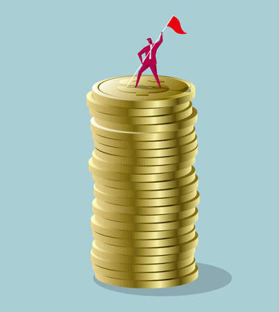 Businessman standing on top a stack of coins with a red flag