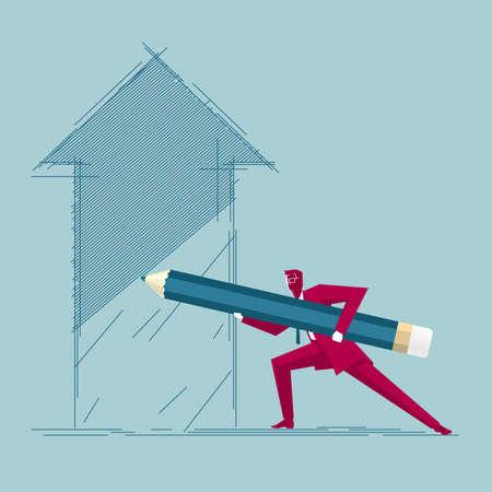 Businessman draws arrow symbol. Isolated on blue background. Иллюстрация