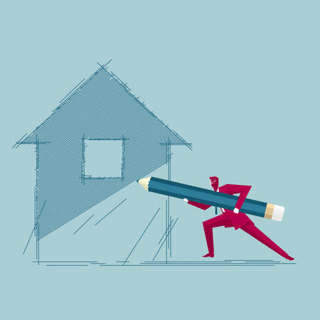 Businessman draws a house. Isolated on blue background. Фото со стока - 129601609