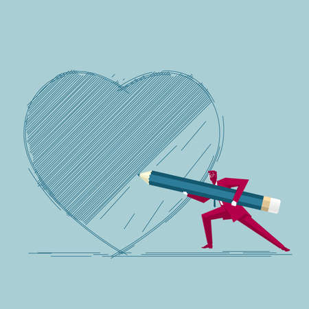 Businessman draws heart symbol. Isolated on blue background.