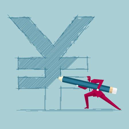 Businessman draws yuan symbol. Isolated on blue background. Иллюстрация