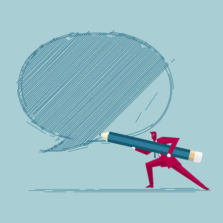 Businessman draws speech bubble. Isolated on blue background. Фото со стока - 129756096