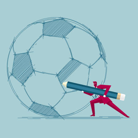 Businessman draws football. Isolated on blue background.