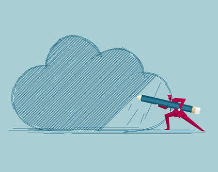Businessman draws cloud symbol. Isolated on blue background. Фото со стока - 129756206