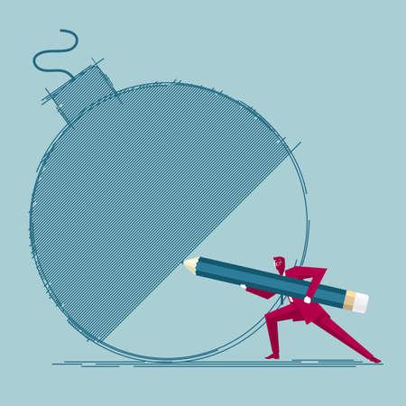 Businessman draws bomb. Isolated on blue background. Иллюстрация