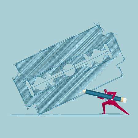 Businessman with pencil drawing a razor blade Иллюстрация