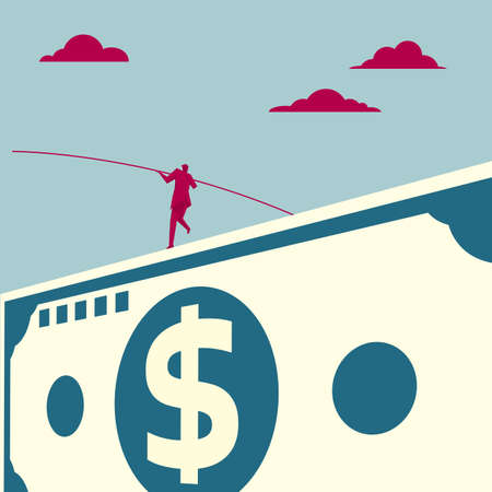 Businessman balancing on dollar banknote. Isolated on blue background.