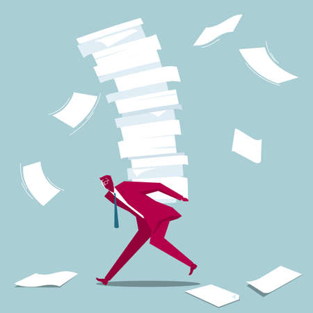 Businessman carries a lot of documents. Isolated on blue background.