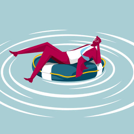 Businessman is lying on the swim ring. Isolated on blue background. Иллюстрация