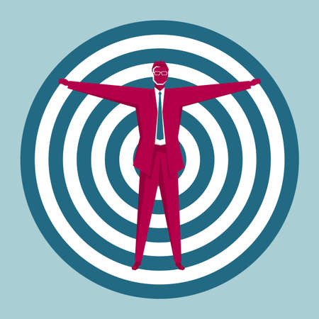 Businessman stands at the bulls-eye. Isolated on blue background. Фото со стока - 129761778