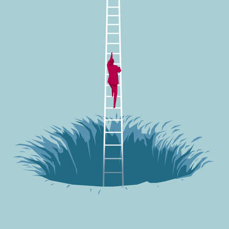 Businessman climbs out of the trap using ladder. Isolated on blue background.